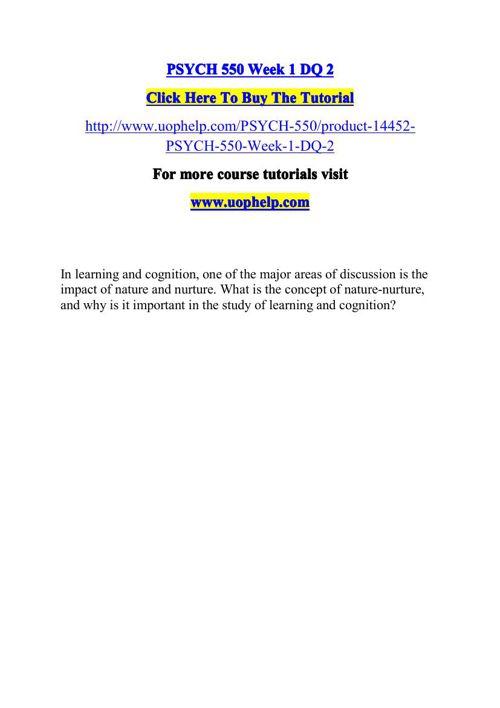 PSYCH 550 ACADEMIC COACH / UOPHELP
