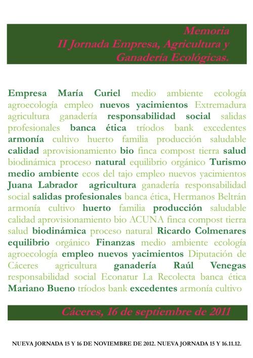 Jornada Empresa Agricultura Ganadería Ecológicas 2011