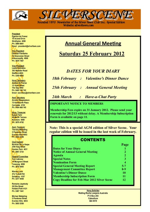 Silver Scene - AGM Special Edition - Jan 2012