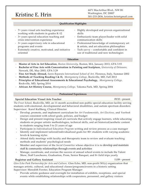 Kristine E Hrin Resume and Portfolio