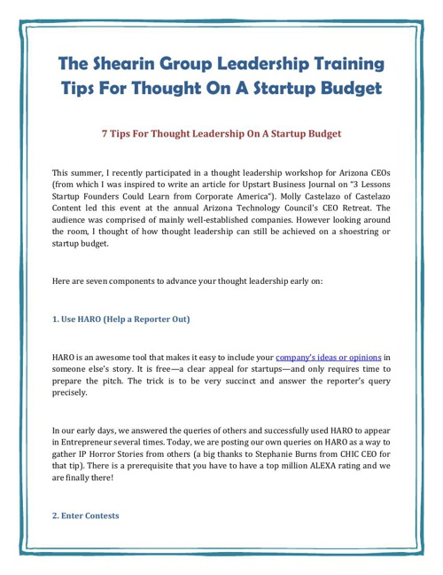 The Shearin Group Leadership Training Tips For Thought On A Star