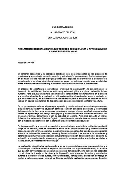 REGLAMENTO GENERAL DEL PROCESO DE ENSEÑANZA Y APRENDIZAJE. UNA-