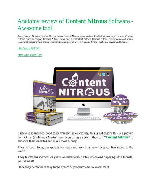 Content Nitrous review - (FREE) Jaw-drop bonuses