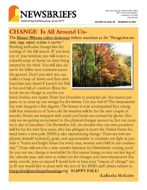 New Hope Housing Thanksgiving Newsbrief