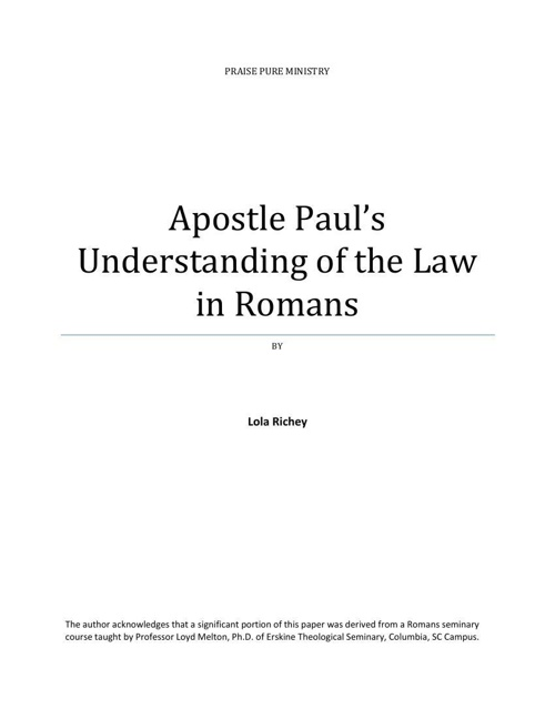 Apostle Paul's Understanding of the Law in Romans