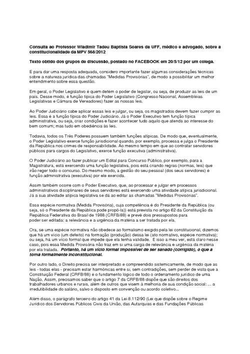 Prof. Wladimir Soares discute constitucionalidade da MP 568