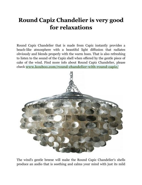 Round Capiz Chandelier is very good for relaxations
