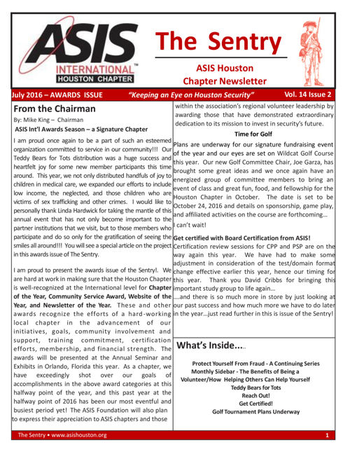 ASIS News July 2016 - Awards Edition