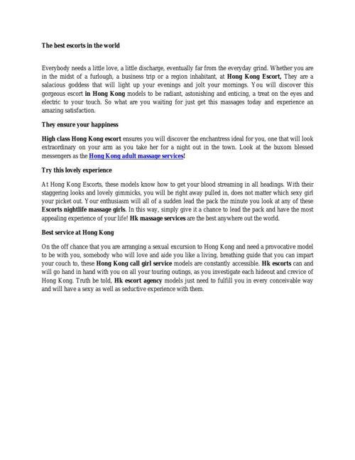 Hong Kong Adult Massage Services
