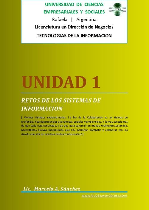 Undad 1 - Desafios de los Sistemas de Información