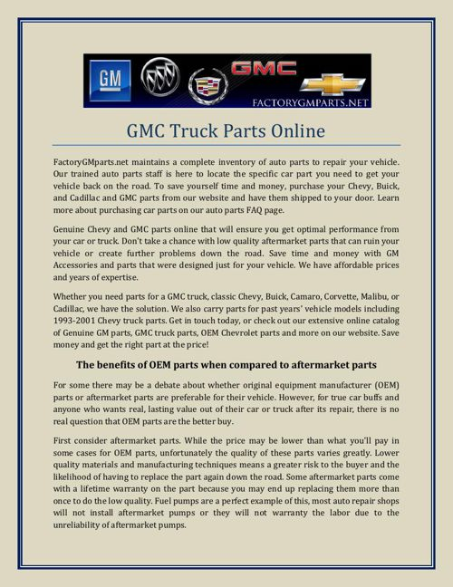 GMC Truck Parts Online