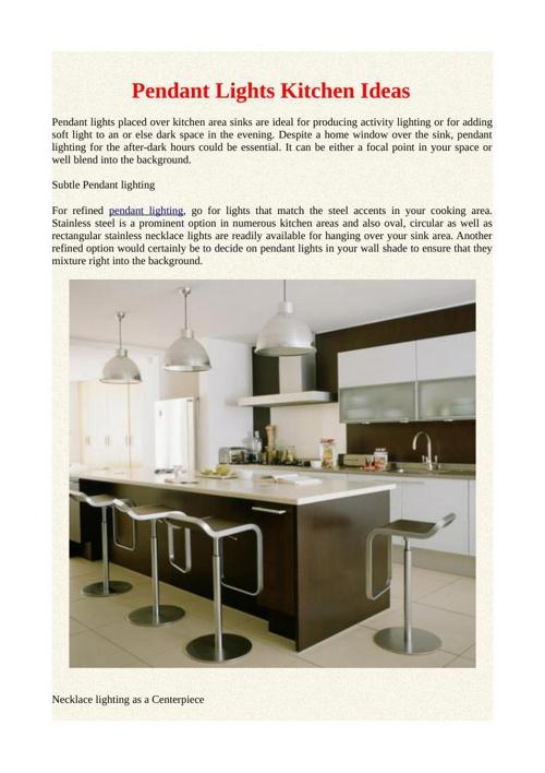 Pendant Lights Kitchen Ideas
