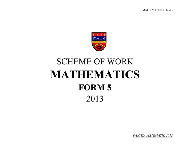 SCHEME OF WORK - FORM 5