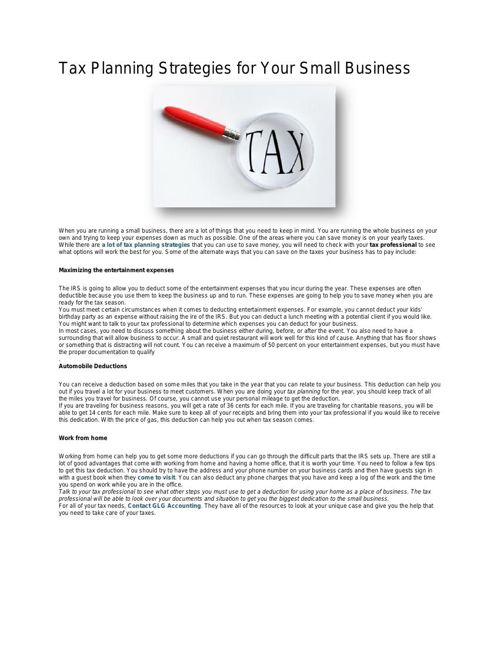 Tax Planning Strategies for Your Small Business