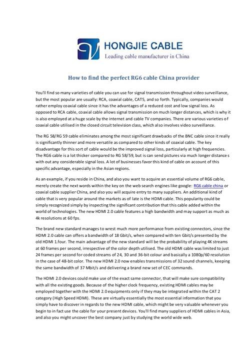 RG6 cable China provider