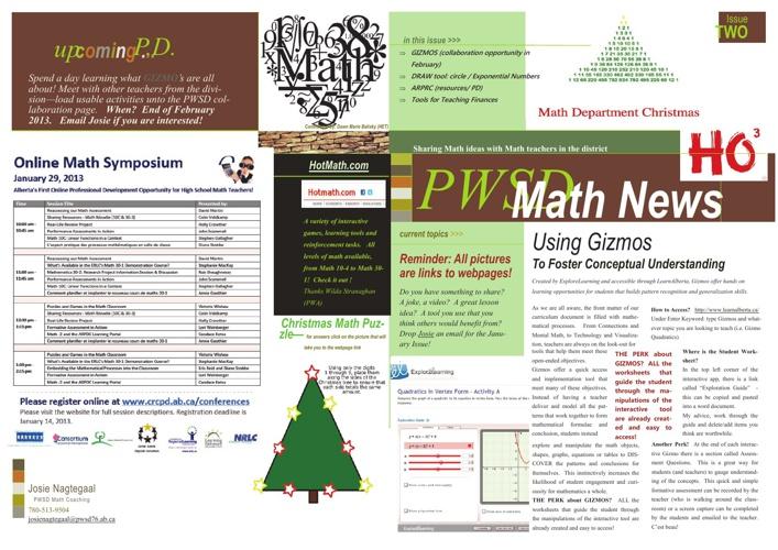 PWSD Math News December 2012