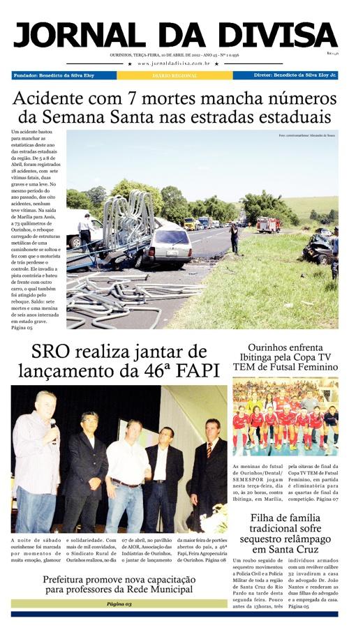 JORNAL DA DIVISA - Edição de 10 de Abril de 2012.