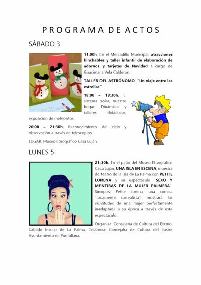 Programa de Actos Navideños Puntallana