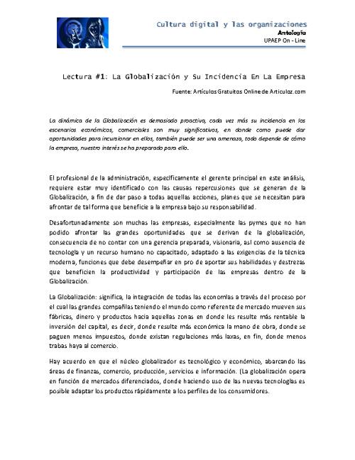 Antología: Cultura digital y las organizaciones