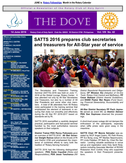 RC Holy Spirit THE DOVE  Vol. VIII No. 42 June 14, 2016