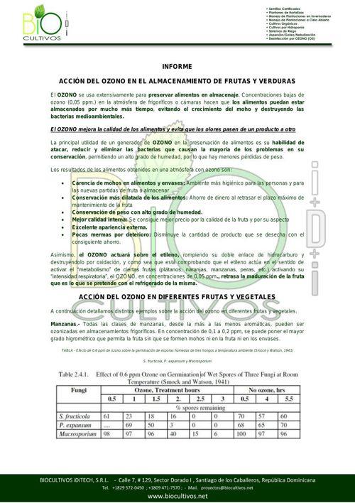 INFORME. ACCION DEL OZONO EN EL ALMACENAMIENTO DE FRUTAS Y VERDU