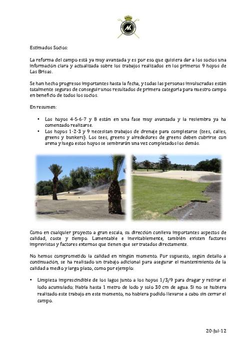 Carta a los Socios -  Julio 2012