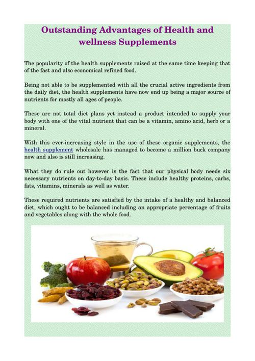 Outstanding Advantages of Health and wellness Supplements
