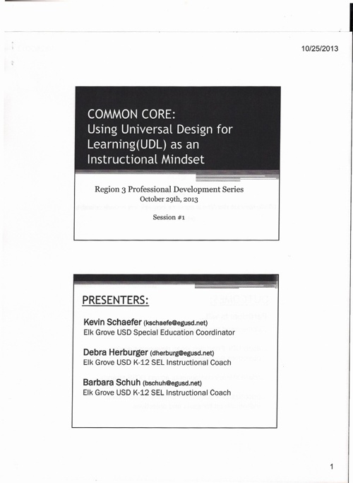 Common Core: Using Universal Design for Learning (UDL)