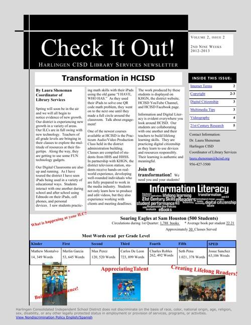 Harlingen CISD Library Services Newsletter