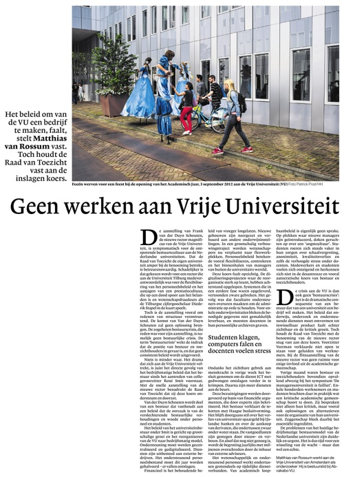 Geen werken aan Vrije Universiteit