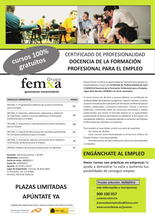 Catálogo Docencia de la formación profesional para el empleo.