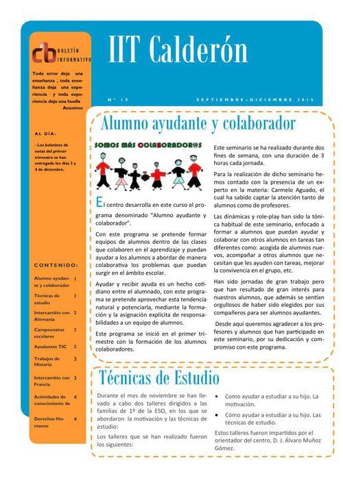 Boletín del primer trimestre del IES Calderón de la Barca de Pin
