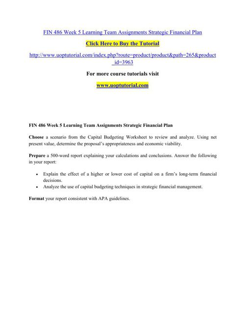 FIN 486 Week 5 Learning Team Assignments Strategic Financial Pla