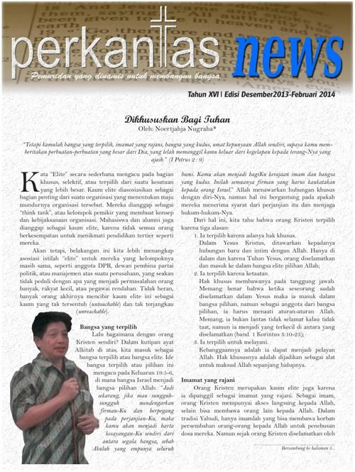 Perkantas News Edisi Desember 2013 - Februari 2014