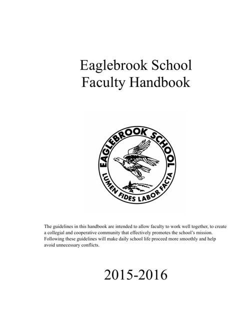 The 2015-2016 Eaglebrook School Faculty Handbook