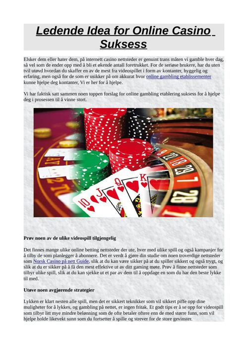 Ledende Idea for Online Casino Suksess