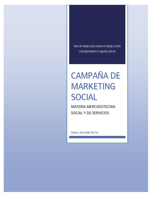PLAN DE MARKETING SOCIAL