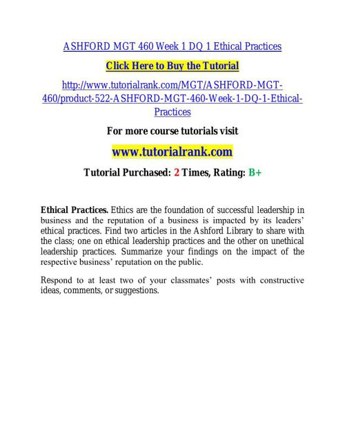 ASHFORD MGT 460 learning consultant - tutorialrank.com