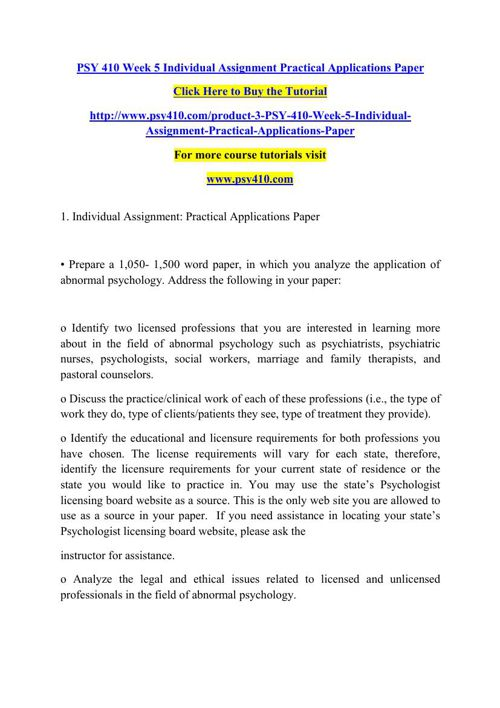 PSY 410 Week 5 Individual Assignment Practical Applications Pape