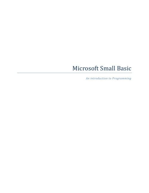 Microsoft Small Basic - Introduction to Programming