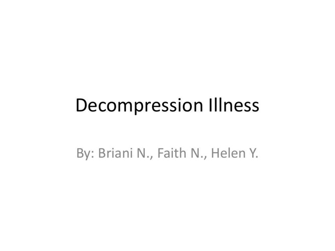 Decompression Illness