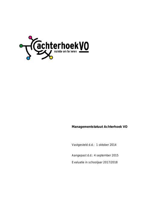 151126 Managementstatuut Achterhoek VO - versie 26 november 2015