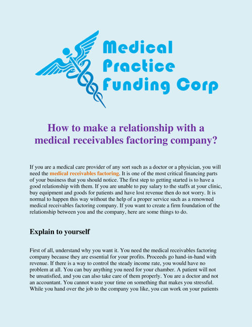 How_to_make_a_relationship_with_a_medical_receivables_factoring_