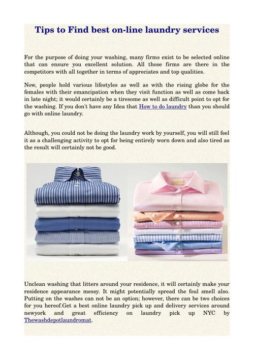 Tips to Find best on-line laundry services