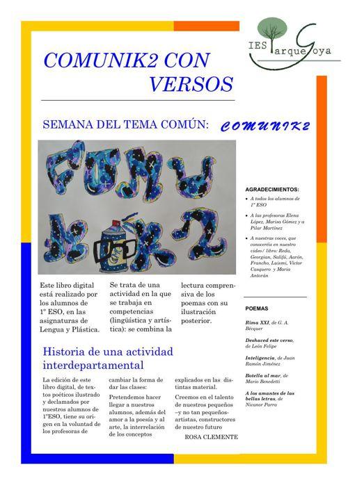 Publicación COMUNIK2 CON VERSOS IES PARQUE GOYA Libro digital
