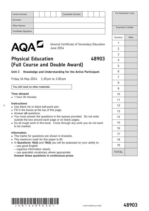 AQA-June2014-GCSE-PE-Exam Paper & Mark Scheme