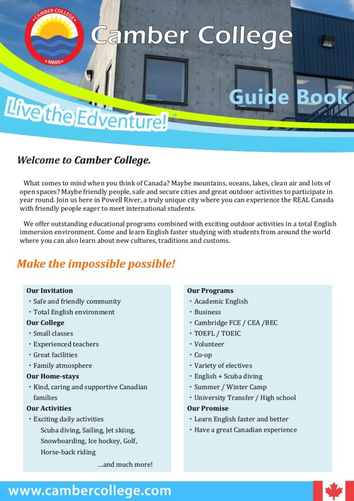 Camber College Guide Book