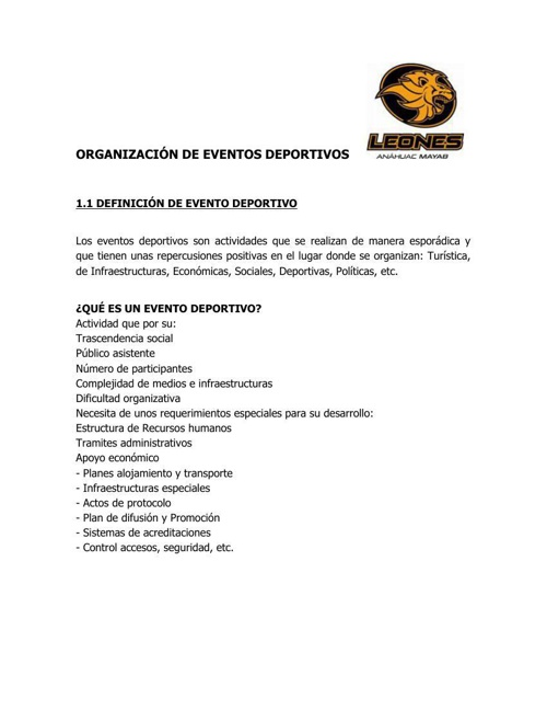 Definición de evento deportivo, sus elementos y fases.