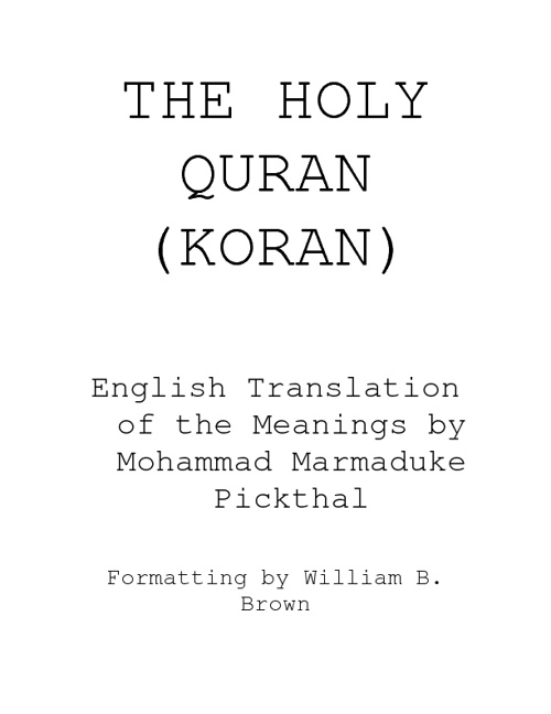 English translation of The Noble Quran