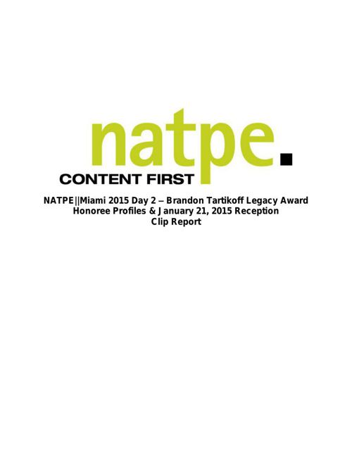 NATPE||Miami 2015: Legacy Award Reception
